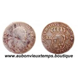 XX SOLS de NAVARRE ARGENT LOUIS XV 1719 W LILLE