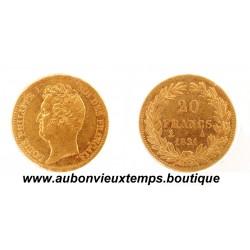 20 FRANCS OR LOUIS PHILIPPE 1er 1831 A  TETE NUE - TRANCHE en CREUX