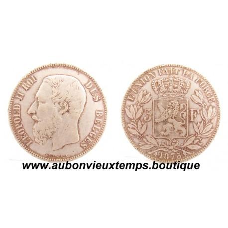 5 FRANCS ARGENT  1873  LEOPOLD II - BELGIQUE