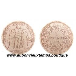 5 FRANCS ARGENT  1873 K  HERCULE