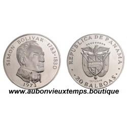 20 BALBOAS  ARGENT BE  1973  PANAMA