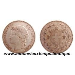 5 FRANCS  SUISSE ARGENT 1890 B