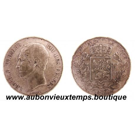 5 FRANCS  ARGENT LEOPOLD  1er  TETE NUE  1865