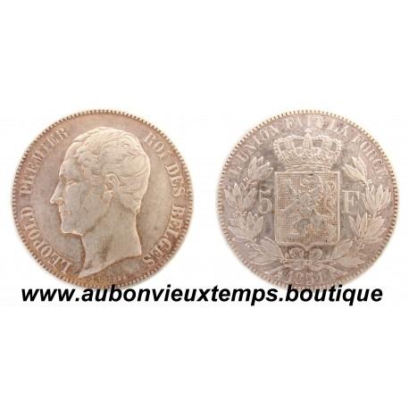5 FRANCS  ARGENT LEOPOLD  1er  TETE NUE  1851