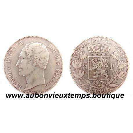 5 FRANCS  ARGENT LEOPOLD  1er  TETE NUE  1849