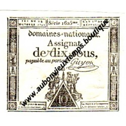 ASSIGNAT DIX SOUS - GUYON - FRANCE