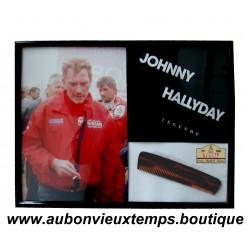 CADRE JOHNNY HALLYDAY - PARIS DAKAR 2002 - avec son PEIGNE du RALLYE