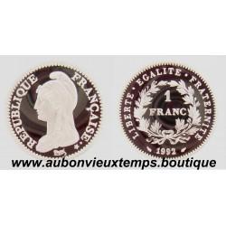 PIEFORT ARGENT 1 FRANC REPUBLIQUE - 1992 BE