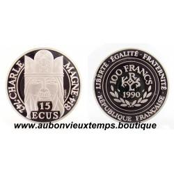 100 FRANCS ARGENT 15 ECUS - CHARLEMAGNE - 1990 BE