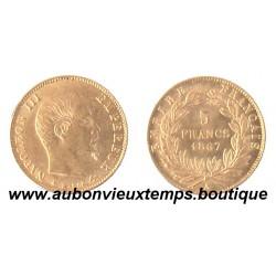 5 FRANCS OR 1867 A NAPOLEON III