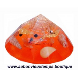 ORGONITE ORANGE FEUILLE OR et COQUILLAGES