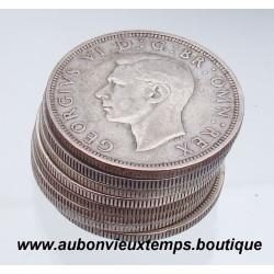 LOT DE 8 MONNAIES ARGENT 1/2 COURONNE GEORGES VI