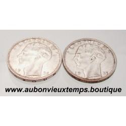 LOT DE 2 MONNAIES ARGENT 20 FRANCS LEOPOLD III