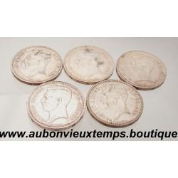 LOT DE 5 MONNAIES ARGENT 20 FRANCS ALBERT