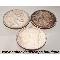 LOT DE 3 MONNAIES ARGENT 50 FRANCS ALBERT
