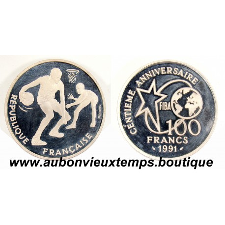 100 FRANCS ARGENT 1991 FIBA 100ème ANNIVERSAIRE