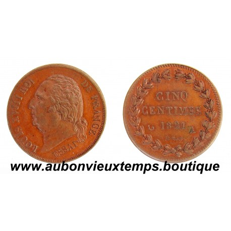 5 CENTIMES ESSAI BRONZE 1821 A LOUIS XVIII