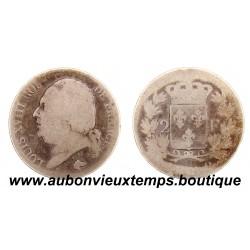 2 FRANCS ARGENT 18 (24) Q LOUIS XVIII