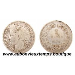 2 FRANCS ARGENT 1870 K CERES - SANS LEGENDE - ANCRE