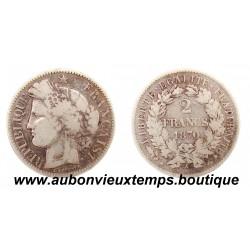 2 FRANCS ARGENT 1870 A CERES - AVEC LEGENDE