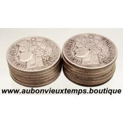 LOT 12+1 x 2 FRANCS ARGENT CERES