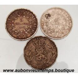 LOT 3 x 5 FRANCS ARGENT HERCULE + LEOPOLD II