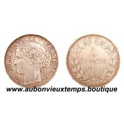 5 FRANCS ARGENT 1871 K CERES SANS LEGENDE