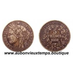 5 FRANCS ARGENT 1851 A CERES
