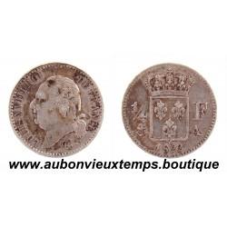 1/4 FRANC ARGENT 1822 A LOUIS XVIII