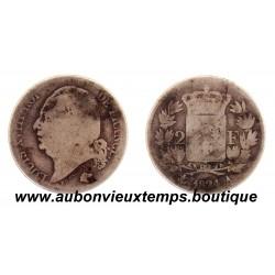 2 FRANCS ARGENT 1824 A LOUIS XVIII