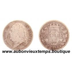 1/2 FRANC ARGENT 1824 A LOUIS XVIII