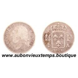 1/4 FRANC ARGENT 1824 A LOUIS XVIII