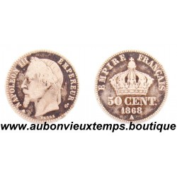 50 CENTIMES ARGENT 1868 A NAPOLEON III