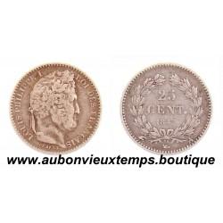 25 CENTIMES ARGENT 1847 A LOUIS PHILIPPE 1er