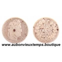 1/2 FRANC ARGENT 1835 A LOUIS PHILIPPE 1er
