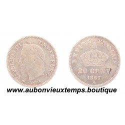 20 CENTIMES ARGENT 1867 A NAPOLEON III