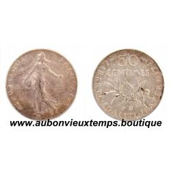 50 CENTIMES ARGENT 1909 SEMEUSE