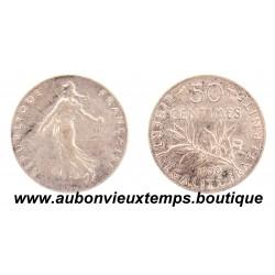 50 CENTIMES ARGENT 1908 SEMEUSE