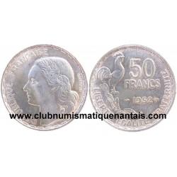 ESSAI 50 FRANCS G. GUIRAUD 1952 RARE PLAQUE ARGENT