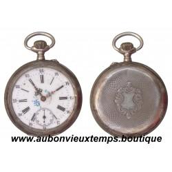 MONTRE A GOUSSET AVEC CHRONOMETRE ARGENT CYLINDRE 10 RUBIS