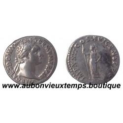 DENIER ARGENT DOMITIEN TETE LAUREE  81 – 96 ap J.C. MIVERVE DEBOUT