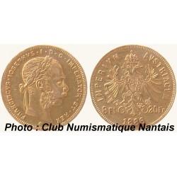 8 FLORINS - 20 FRANCS OR FRANCISCUS JOSEPHUS 1886 AUTRICHE