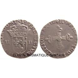 1/4 ECU 1558 9 HENRI III - RENNES ARGENT