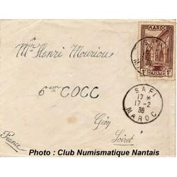 ENVELOPPE - SAFI  MAROC - 6éme COCC - 1936