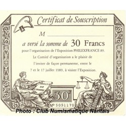 CERTIFICAT DE SOUSCRIPTION - PHILEXFRANCE 89