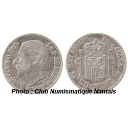 50 CENTIMOS 1880 MSM - ALPHONSO XII - ESPAGNE  ARGENT