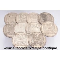 LOT DE 10 MONNAIES ARGENT 20 FRANCS TURIN