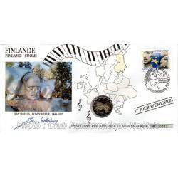 JEAN SIBELUS - ENVELOPPE 1er JOUR - 2 EUROS 2005 FINLANDE