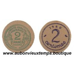MONNAIE CARTON 2 FRANCS ANCIEN ET 2 CENTIMES 1960