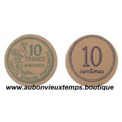 MONNAIE CARTON 10 FRANCS ANCIENS ET 10 CENTIMES